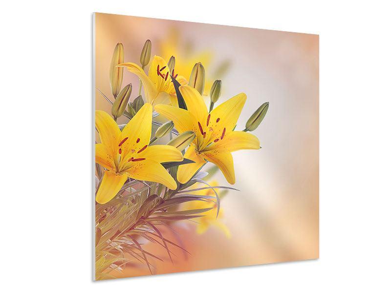 Hartschaumbild Gelbes Lilientrio