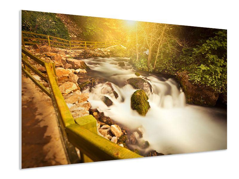 Hartschaumbild Sonnenuntergang am Wasserfall