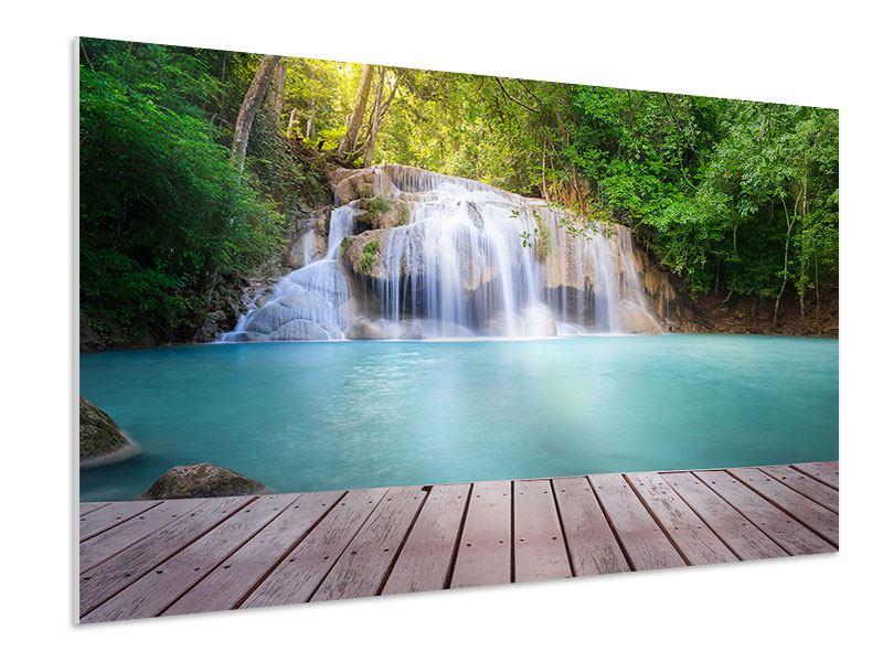 Hartschaumbild Terrasse am Wasserfall