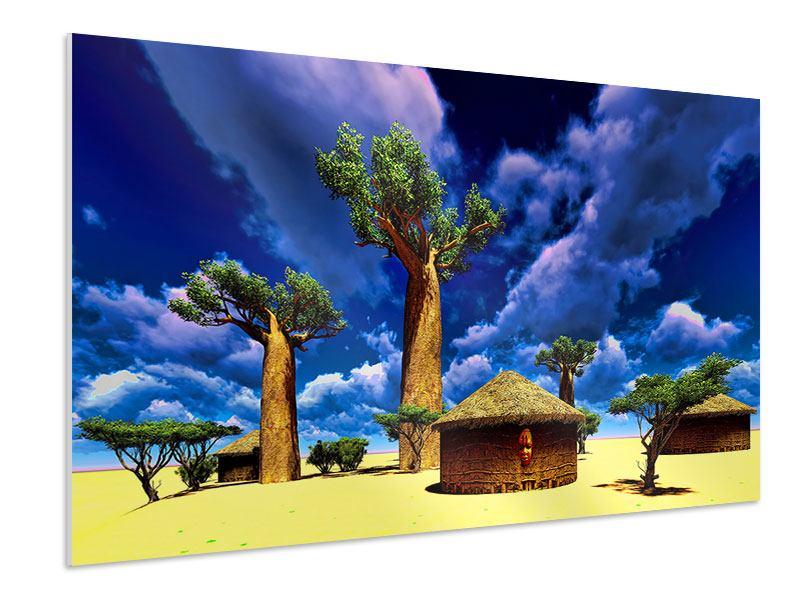 Hartschaumbild Ein Dorf in Afrika