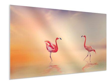 Hartschaumbild Romantische Flamingos