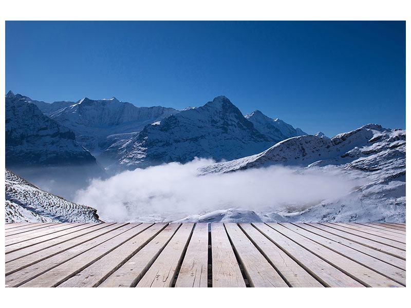Hartschaumbild Sonnenterrasse in den Schweizer Alpen