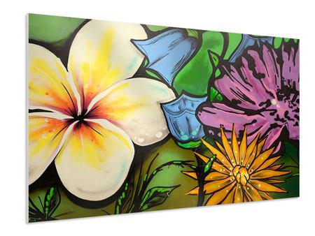 Hartschaumbild Graffiti Flowers