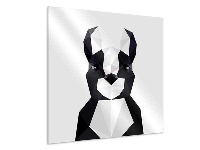 Hartschaumbild Origami Bulldogge
