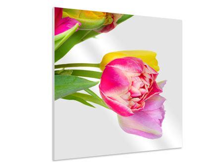 Hartschaumbild Ein bunter Tulpenstrauss