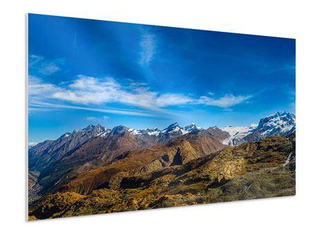 Hartschaumbild Schweizer Alpen im Frühling