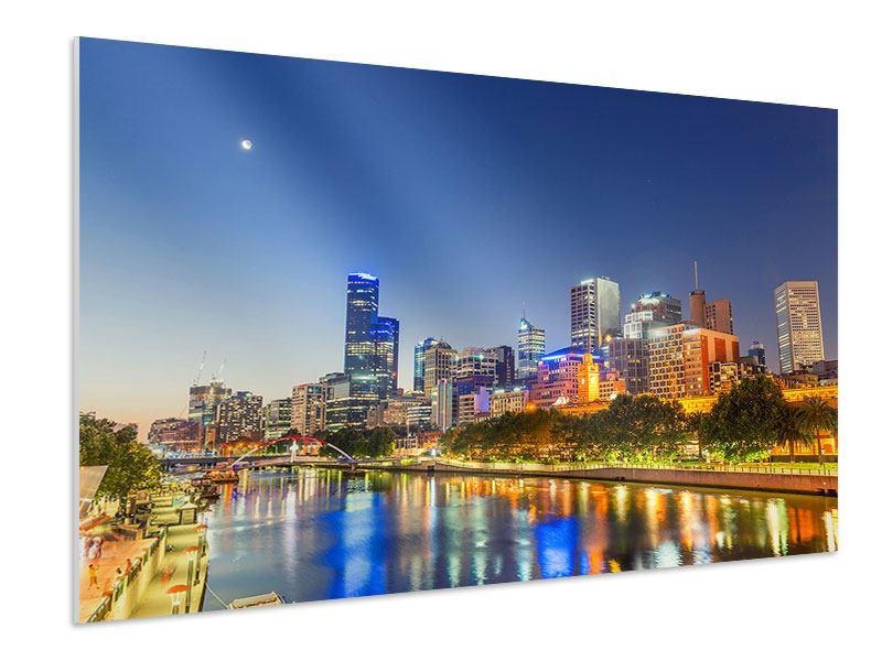 Hartschaumbild Skyline Sydney in der Abenddämmerung