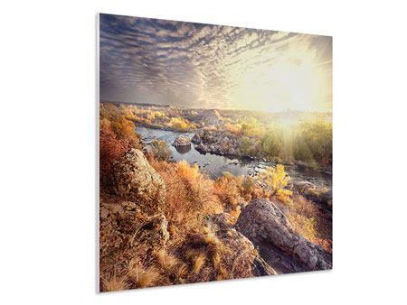 Hartschaumbild Sonnenaufgang am Fluss