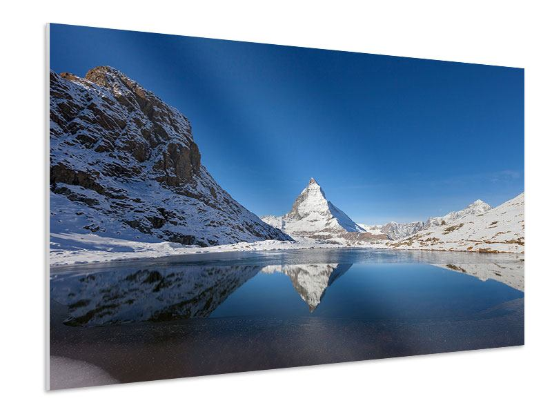 Hartschaumbild Der Riffelsee am Matterhorn