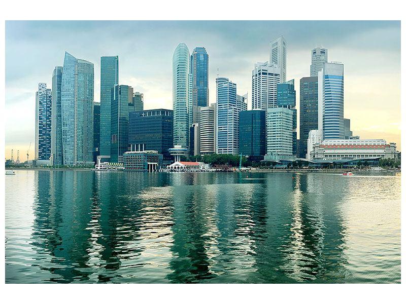 Hartschaumbild Skyline Sonnenaufgang in Singapur