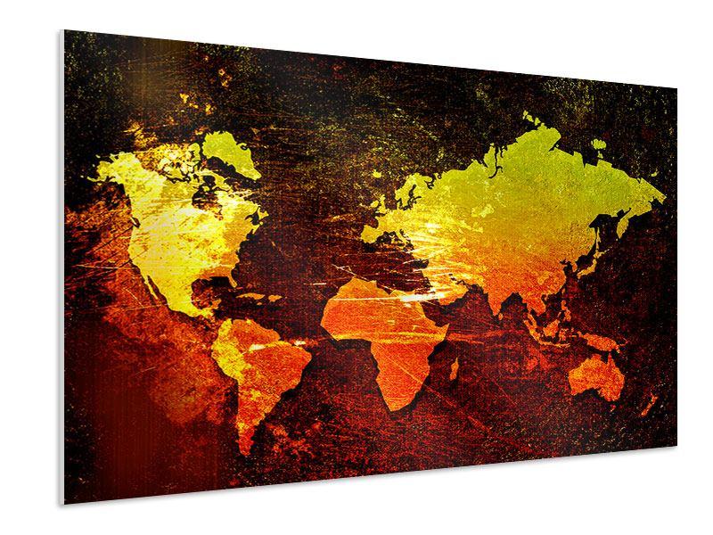Hartschaumbild Retro-Weltkarte