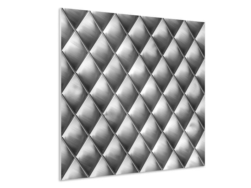 Hartschaumbild 3D-Rauten Silbergrau