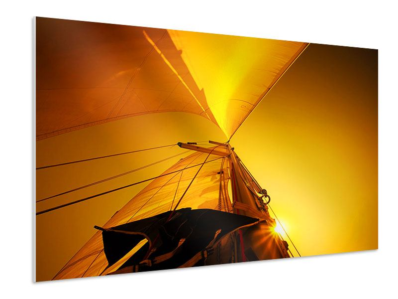 Hartschaumbild Segelboot im Sonnenuntergang
