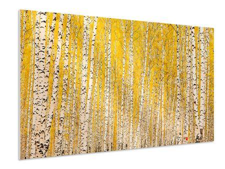 Hartschaumbild Der Birkenwald im Herbst
