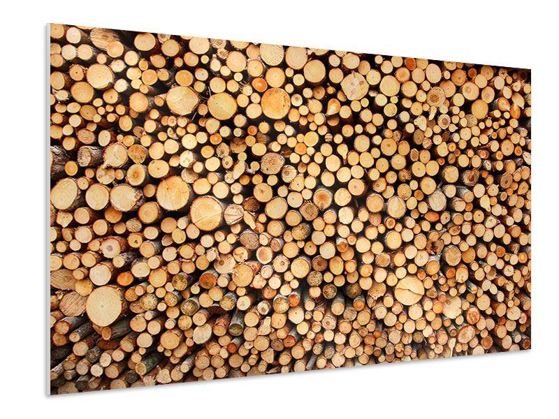 Hartschaumbild Holzstämme