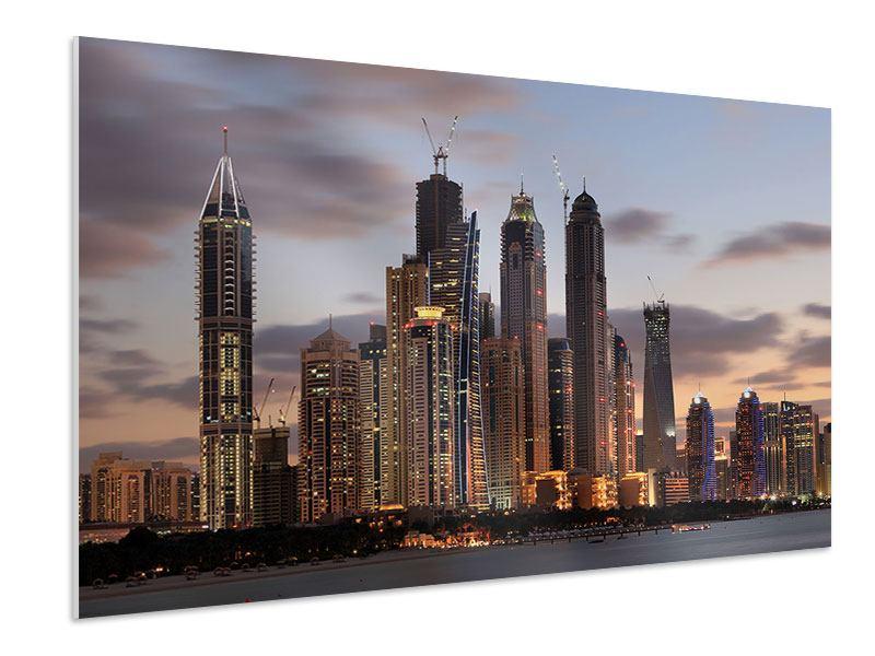 Hartschaumbild Skyline Dubai bei Sonnenuntergang