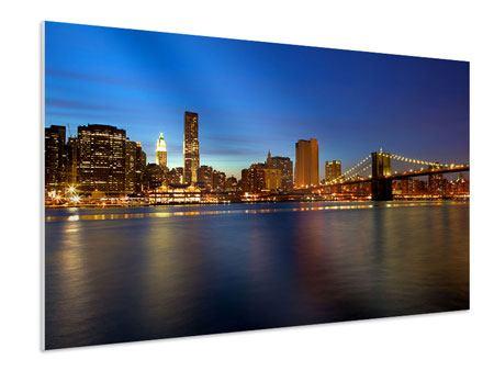 Hartschaumbild Skyline Manhattan im Lichtermeer