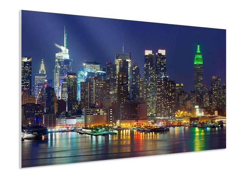 Hartschaumbild Skyline New York Midtown bei Nacht