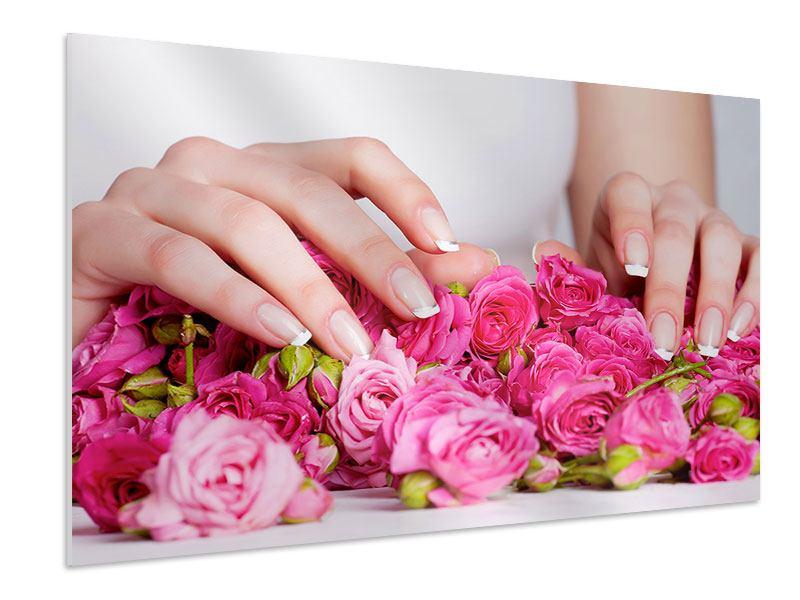 Hartschaumbild Hände auf Rosen gebettet