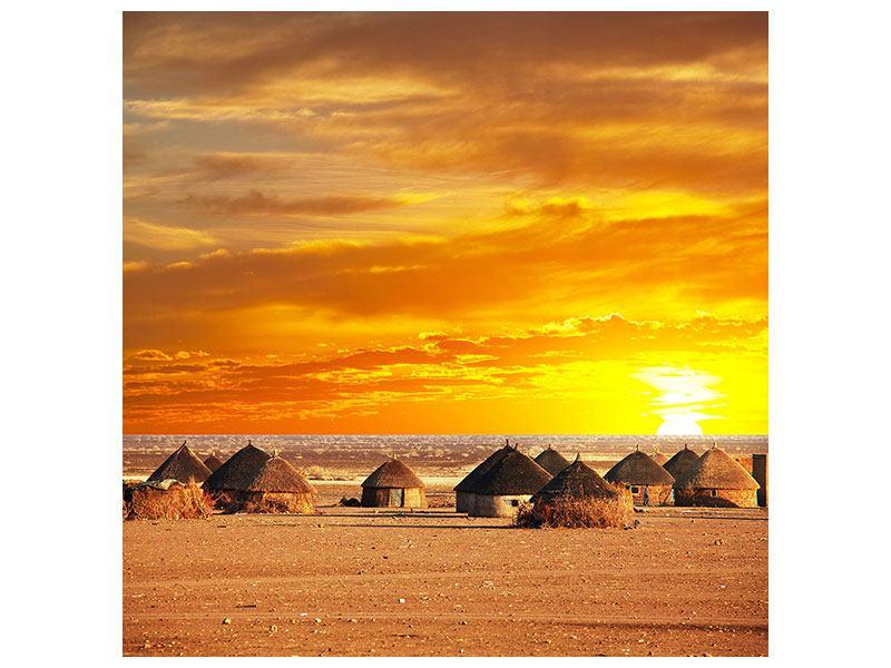 Hartschaumbild Afrikanisches Dorf