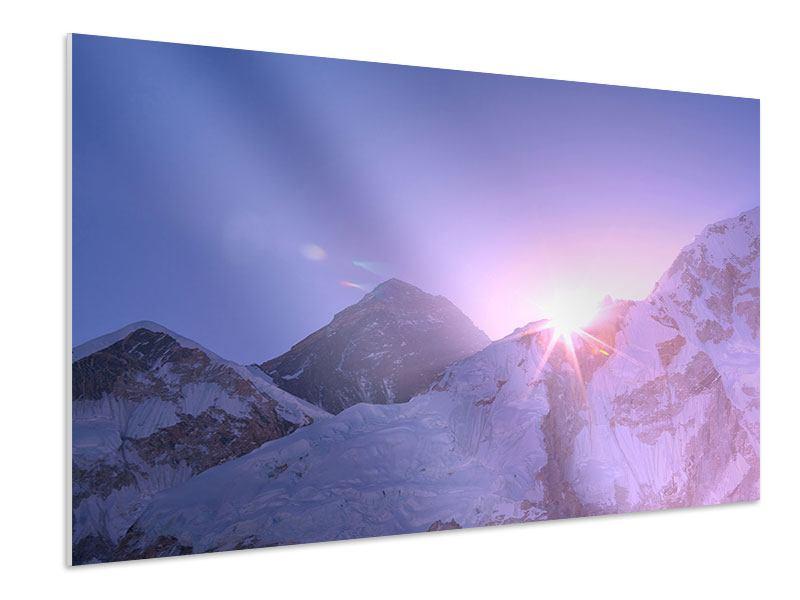 Hartschaumbild Sonnenaufgang beim Mount Everest