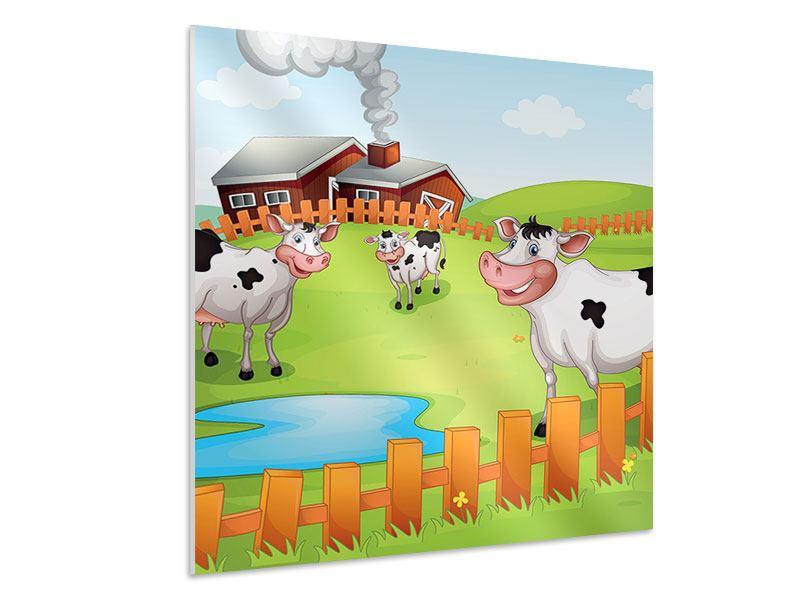 Hartschaumbild Die lustigen Kühe