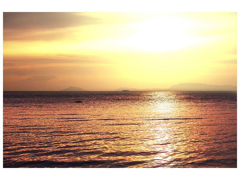 Hartschaumbild Sonnenuntergang an der See