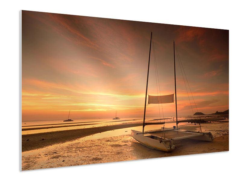 Hartschaumbild Sonnenuntergang am Strand