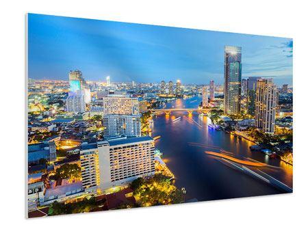 Hartschaumbild Skyline Bangkok bei Sonnenuntergang