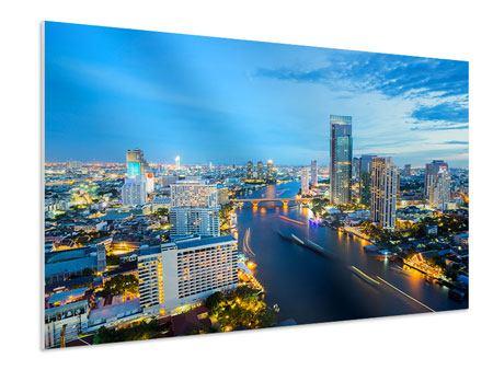 Hartschaumbild Skyline Bangkok in der Abenddämmerung