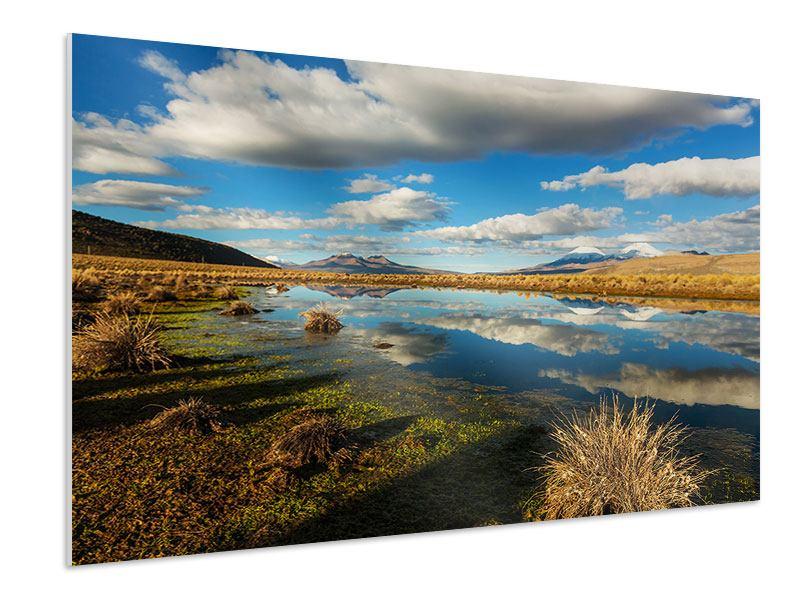 Hartschaumbild Wasserspiegelung am See