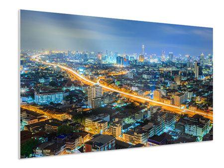 Hartschaumbild Skyline Bangkok im Fieber der Nacht