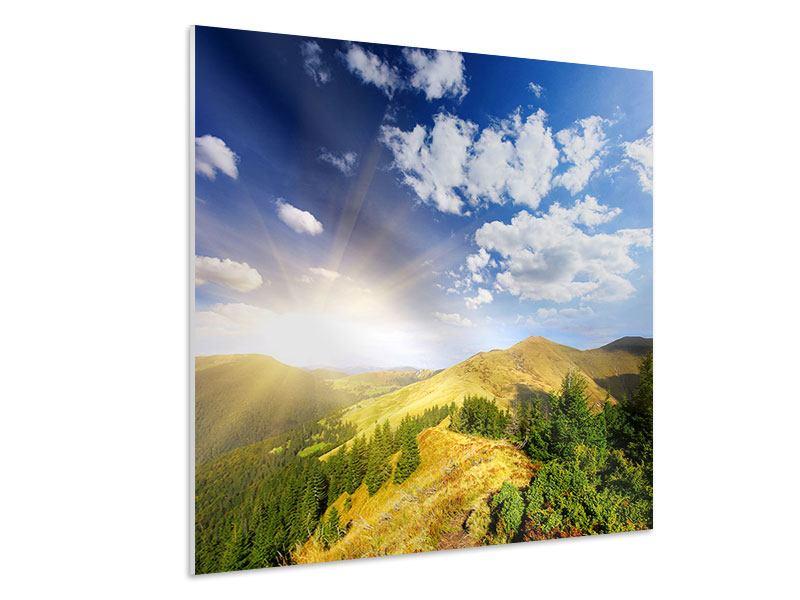 Hartschaumbild Sonnenaufgang im Gebirge