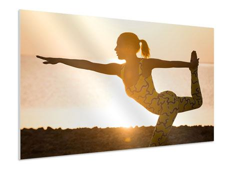Hartschaumbild Yoga bei Sonnenuntergang