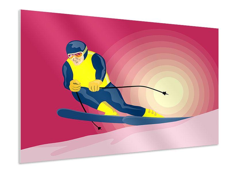 Hartschaumbild Retro-Skifahrer
