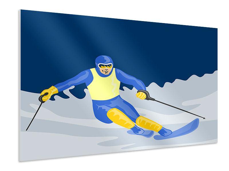 Hartschaumbild Skifahrer im Retrostyle