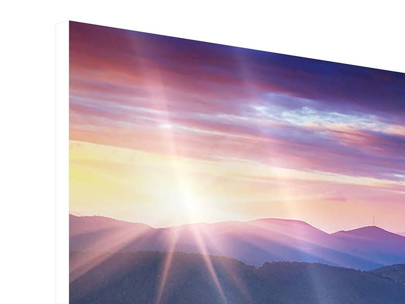 Hartschaumbild Sonnenuntergang in der Bergwelt