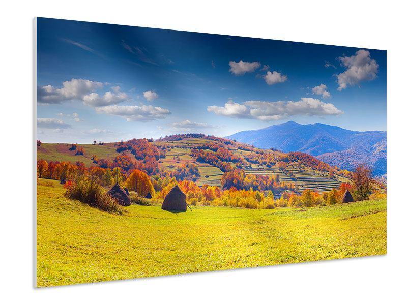 Hartschaumbild Herbstliche Berglandschaft