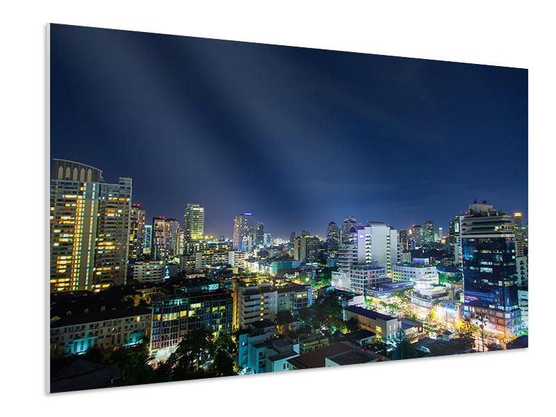 Hartschaumbild Skyline Nachts in Bangkok