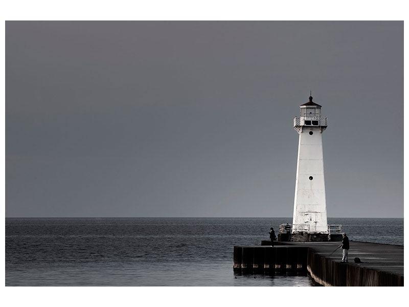 Hartschaumbild Der Leuchtturm bei Nacht