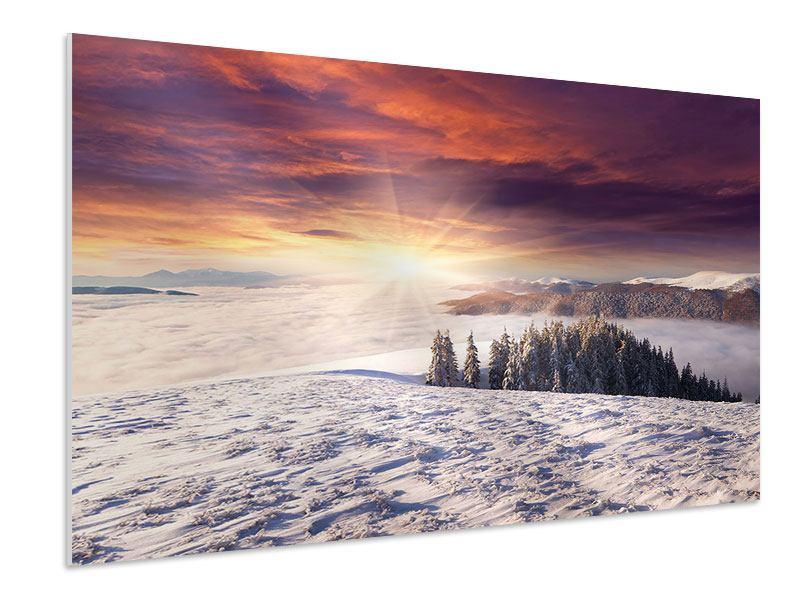 Hartschaumbild Sonnenaufgang Winterlandschaft