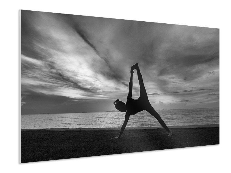 Hartschaumbild Yoga am Strand