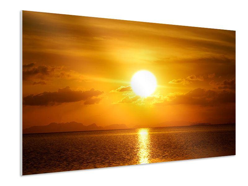 Hartschaumbild Sonnenuntergang See
