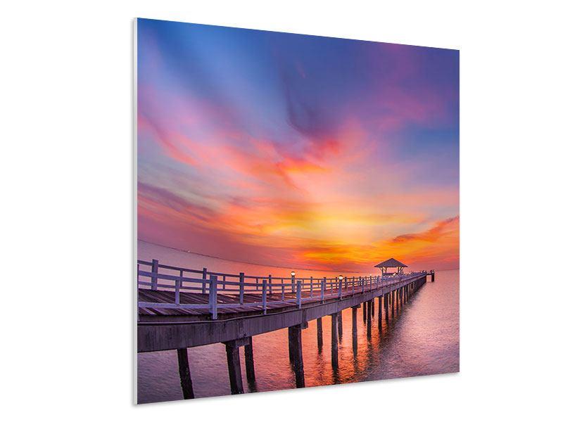 Hartschaumbild Die romantische Brücke bei Sonnenuntergang