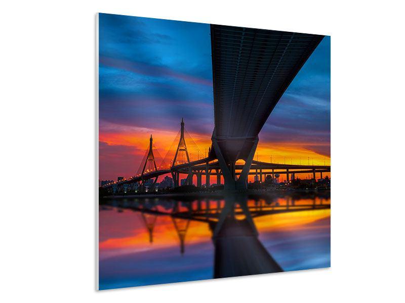 Hartschaumbild Bhumiboll-Brücke bei Sonnenuntergang