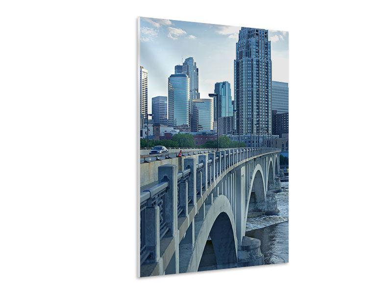 Hartschaumbild Die Brücke zur Grossstadt