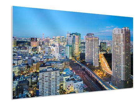 Hartschaumbild Skyline Tokio im Lichtermeer