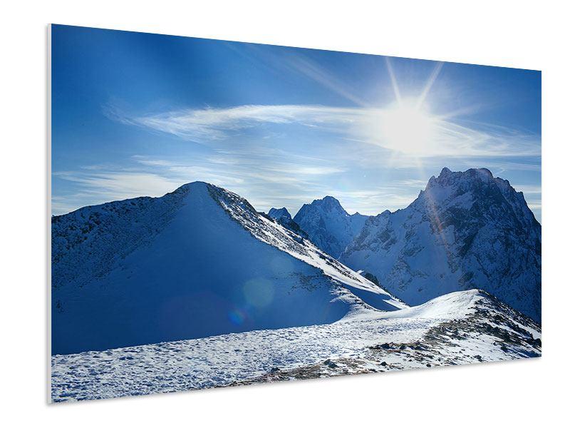 Hartschaumbild Der Berg im Schnee