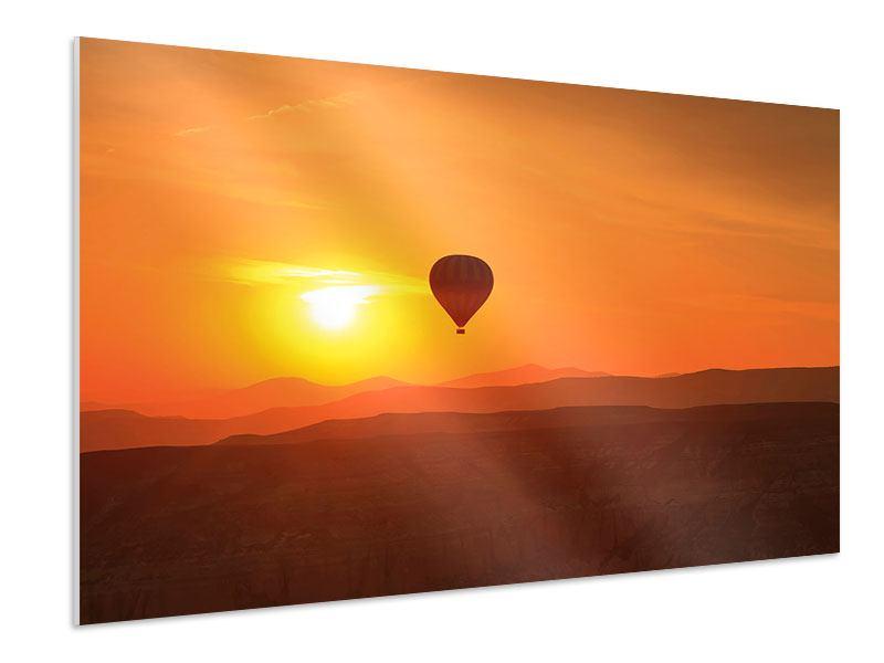 Hartschaumbild Heissluftballon bei Sonnenuntergang