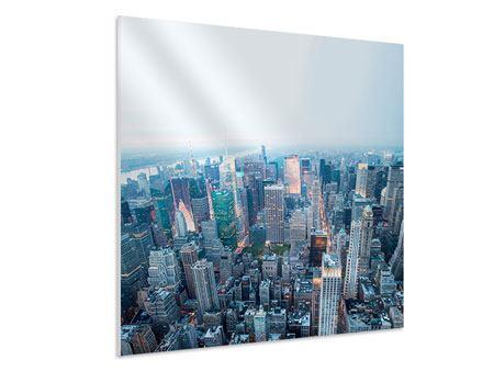 Hartschaumbild Skyline Manhattan in der Abenddämmerung
